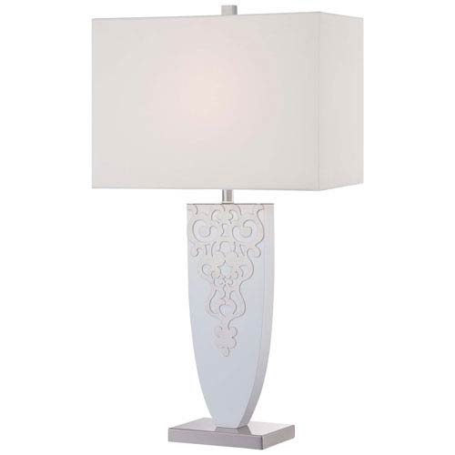 Ambience Brushed Nickel with High Gloss White One-Light Portable Table Lamp