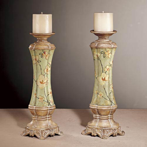 Floral Green Candle Holder, Set of Two