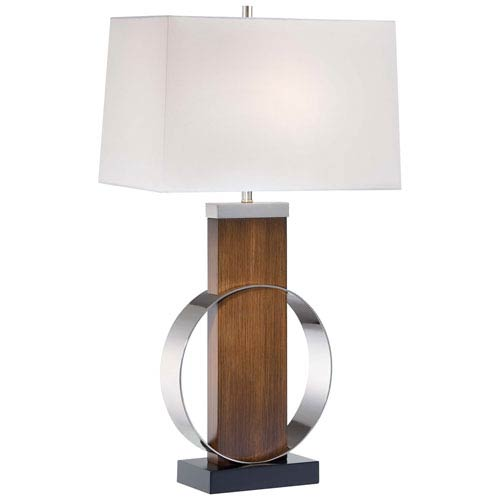 Polished Nickel Table Lamp with White Linen Fabric Shade