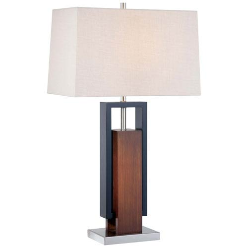 Walnut One-Light Table Lamp with Tan Linen Fabric Shade