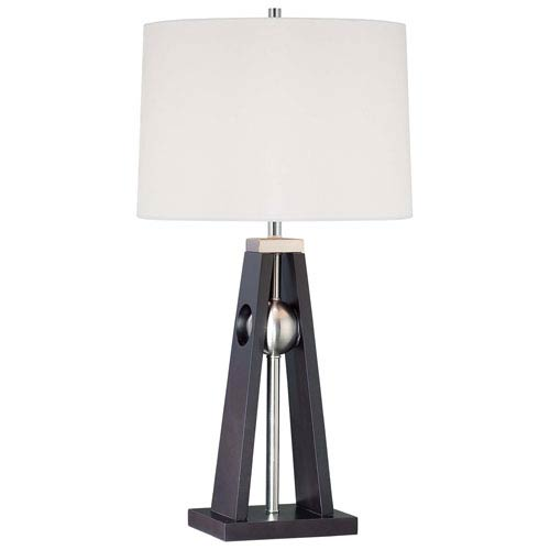 Minka-Lavery Brushed Nickel One-Light Table Lamp with White Linen Fabric Shade