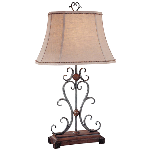 Silver and Wood 18-Inch One-Light Table Lamp