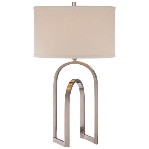 One-Light Table Lamp in Brushed Nickel with Ivory Linen Fabric Shade