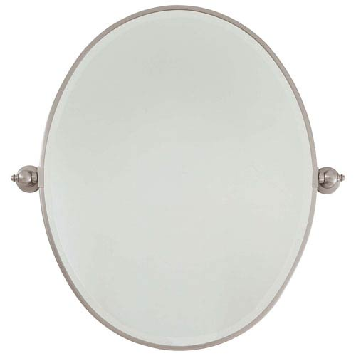 Minka-Lavery Beveled Brushed Nickel 25.5-Inch Width Large Oval Pivot Mirror