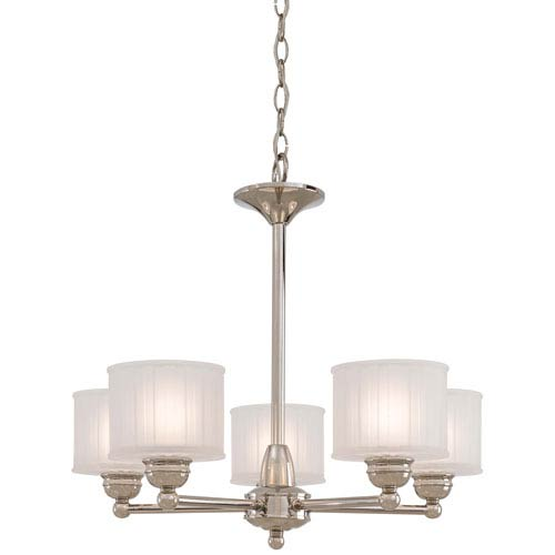 Minka-Lavery 1730 Series Polished Nickel Five-Light Chandelier with Etched Box Pleat Glass