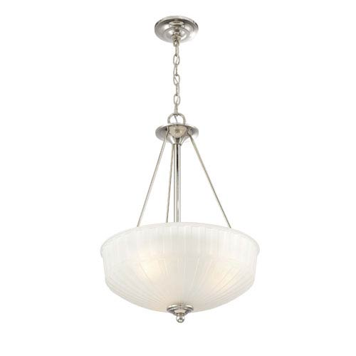 Minka-Lavery 1730 Series Polished Nickel Three-Light Bowl Pendant with Etched Box Pleat Glass