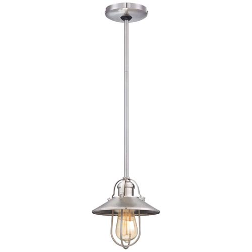 Minka-Lavery One-Light Pendant in Brushed Nickel with Metal Shade