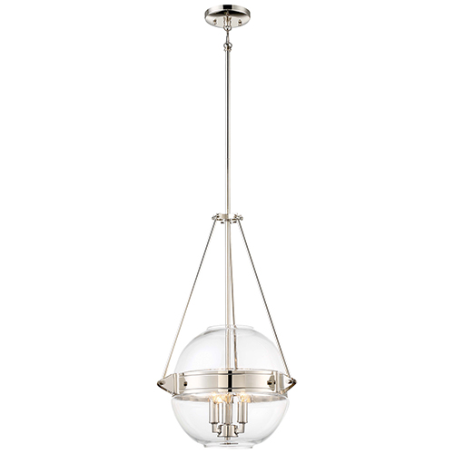 Atrio Polished Nickel 16-Inch Three-Light Pendant
