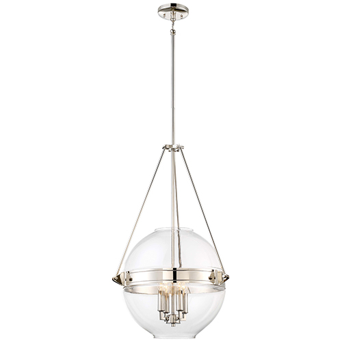 Atrio Polished Nickel 19-Inch Four-Light Pendant