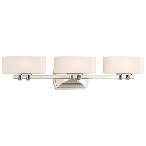 Drury Polished Nickel 27-Inch Three-Light Bath Light
