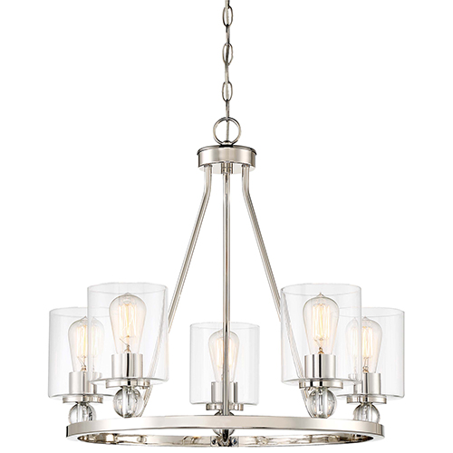 Studio 5 Polished Nickel 26-Inch Five-Light Chandelier