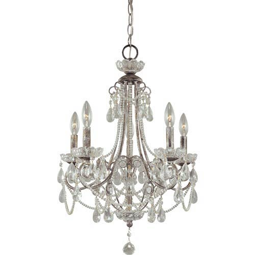 Minka-Lavery Distressed Silver Five-Light Mini Chandelier