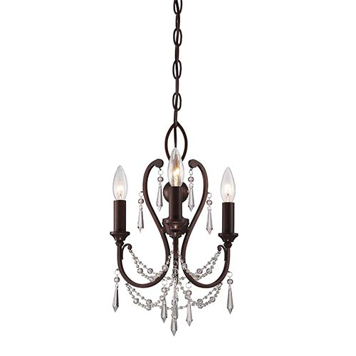 Vintage Bronze Three-Light Mini Chandelier