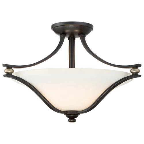 Shadowglen Lathan Bronze with Gold Highlight Two-Light Semi-Flush Mount