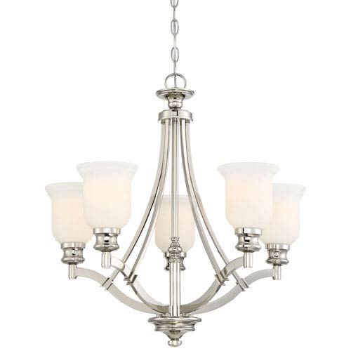 Audreys Point Polished Nickel Five-Light Chandlier
