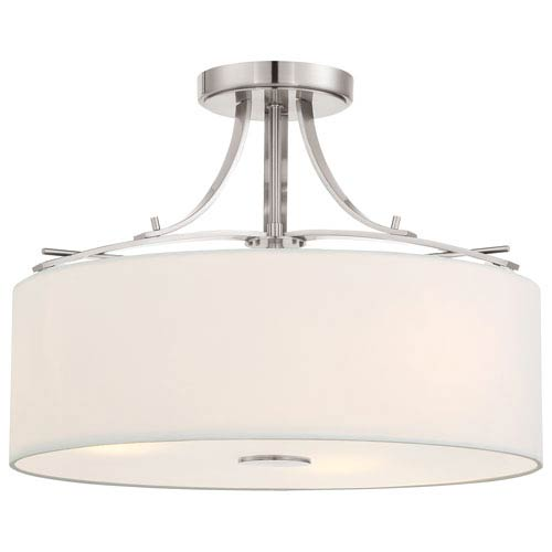 Poleis Brushed Nickel Three-Light Semi-Flush Mount