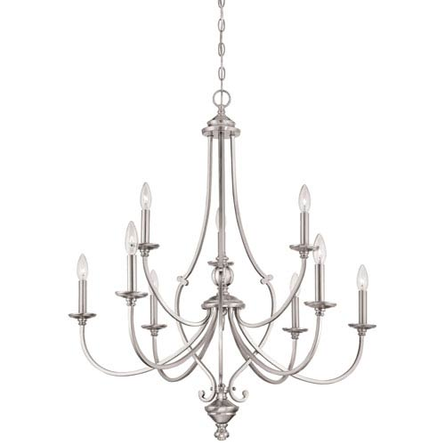 Savannah Row Brushed Nickel Nine-Light Chandlier