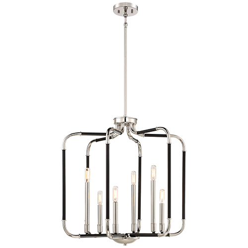 Minka-Lavery Liege Matte Black 25-Inch Six-Light Pendant
