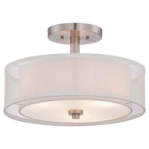 Minka-Lavery Parsons Studio Brushed Nickel 15-Inch Three-Light Semi Flush Mount
