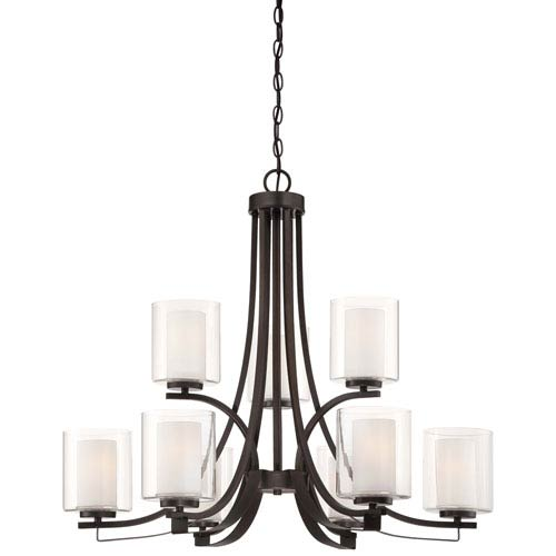 Parsons Studio Smoked Iron Nine-Light Two-Tier Chandelier