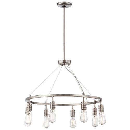 Downtown Edison Brushed Nickel Eight Light Chandelier