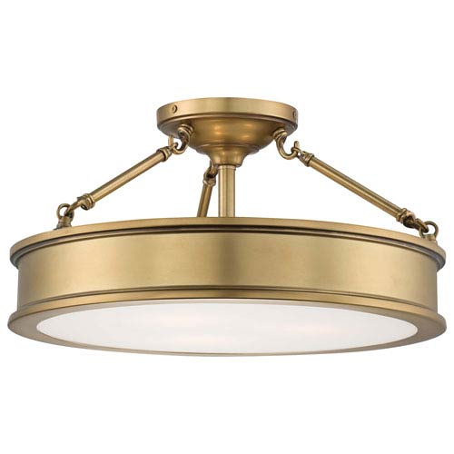 Harbour Point Three Light Semi Flush Mount In Liberty Gold