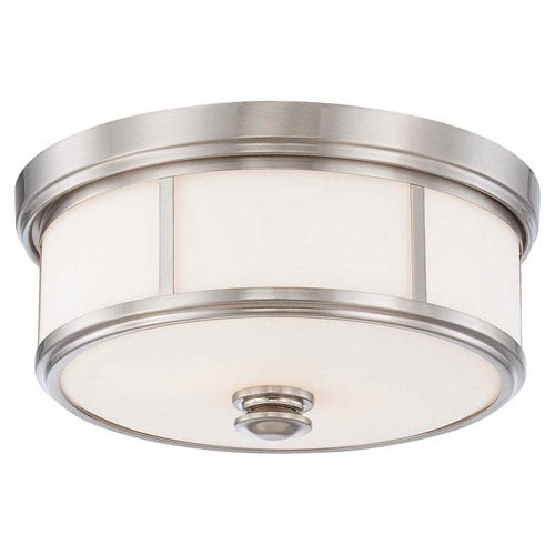 Harbour Point Brushed Nickel Two Light Flush Mount