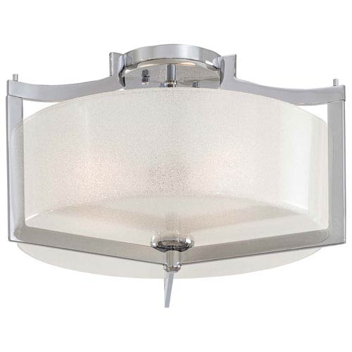 Clarte Chrome Three-Light Semi-Flush with White Iris Glass