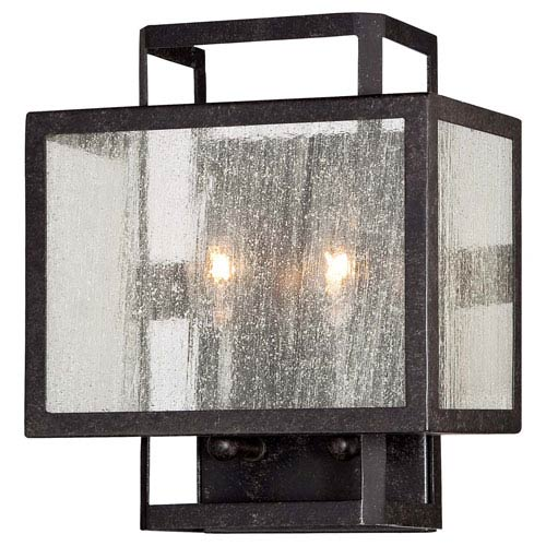 Minka-Lavery Camden Square Aged Charcoal Two-Light Wall Sconce