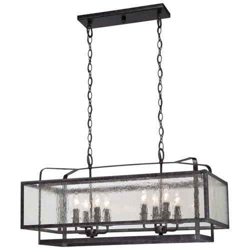 Camden Square Aged Charcoal Eight-Light Island Pendant