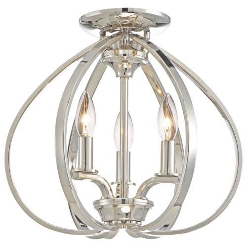 Tibury Polished Nickel Three-Light Semi-Flush Mount