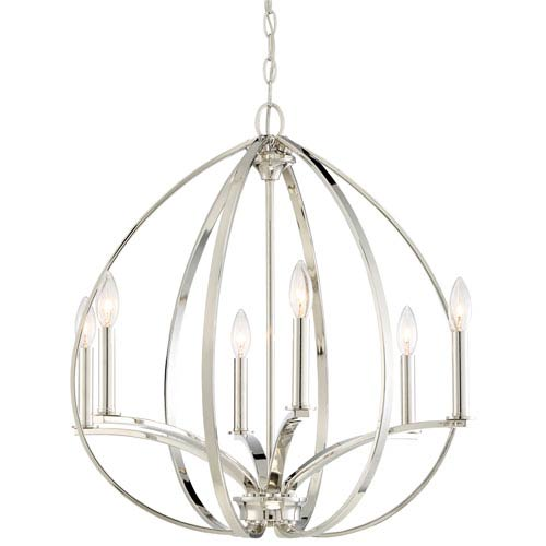 Tibury Polished Nickel Six-Light Chandlier