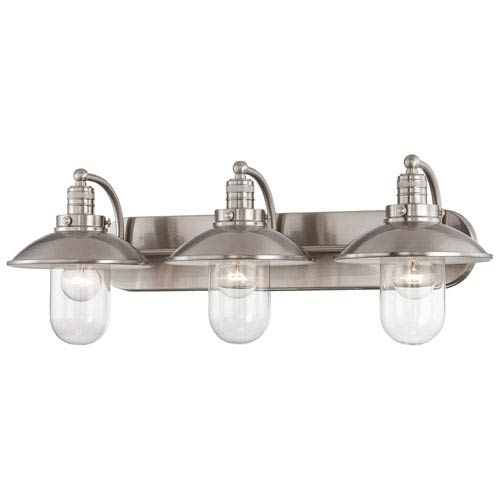 Downtown Edison Brushed Nickel 10.5-Inch Three Light Bath Fixture