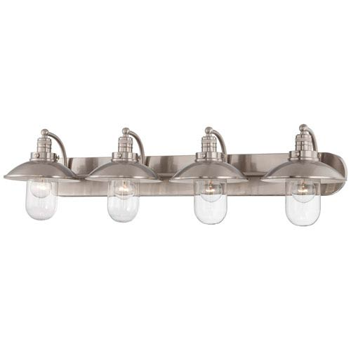 Downtown Edison Brushed Nickel Four Light Bath Fixture