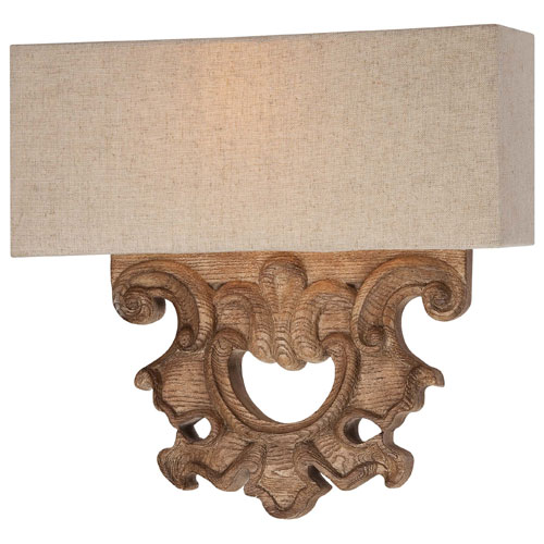 Abbott Place Classic Oak Patina Two-Light Wall Sconce