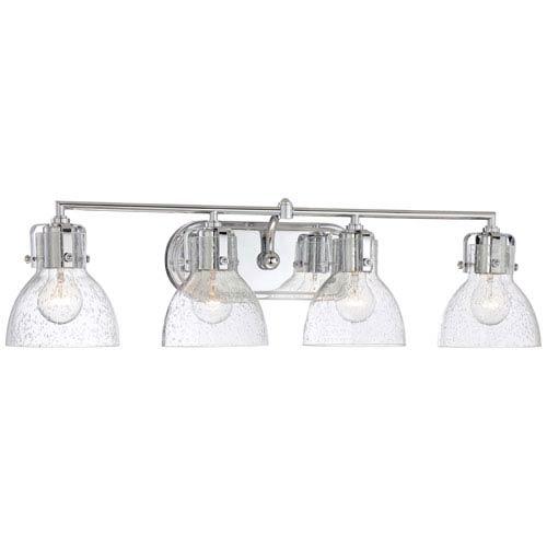 Chrome 8.5-Inch Four Light Bath Fixture with Clear Seeded Glass