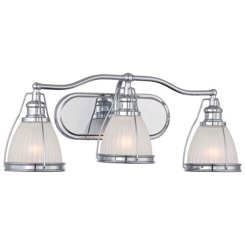 Chrome 9-Inch Three Light Bath Fixture with Ribbed Opal Glass