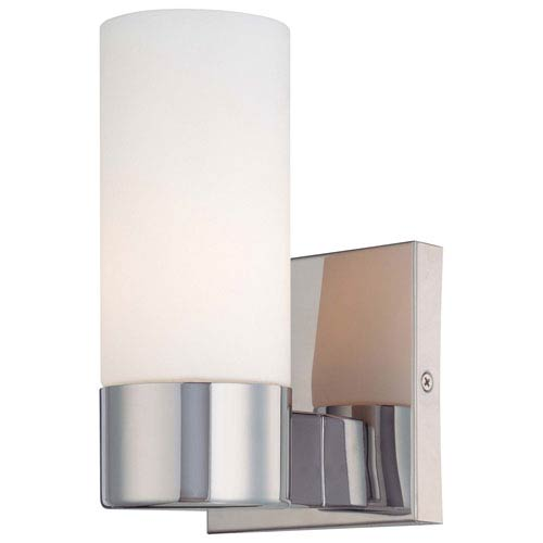 Chrome One-Light Wall Sconce with Etched Opal Glass