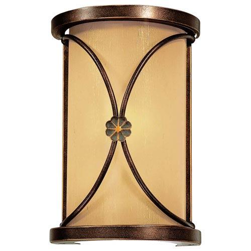 Minka-Lavery Atterbury Deep Flax Bronze One-Light Wall Sconce with Venata de Oro Glass