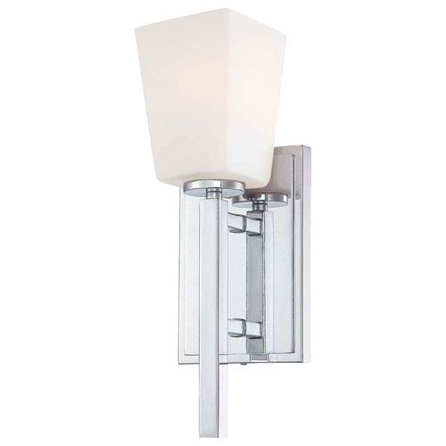 Minka-Lavery City Square Chrome One-Light Wall Sconce with Etched Opal Glass
