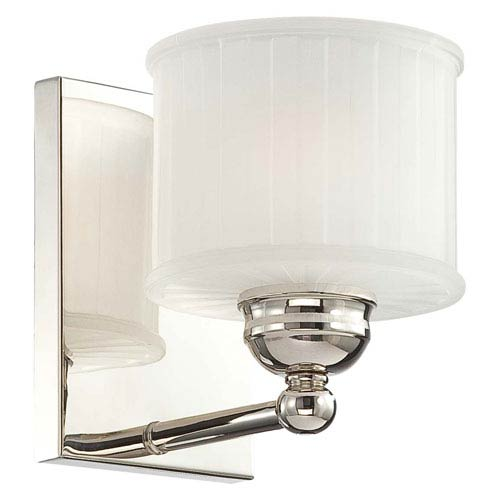 Minka-Lavery 1730 Series Polished Nickel One-Light Bath Fixture with Etched Glass