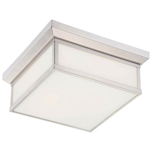 Daventry Polished Nickel Two-Light Flush Mount with White Glass