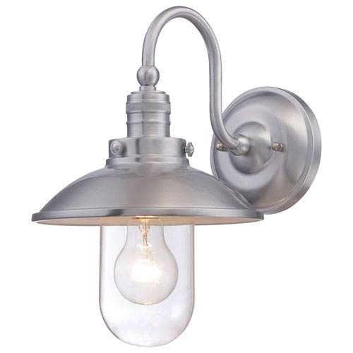 Minka-Lavery Downtown Edison Brushed Aluminum One-Light Outdoor Wall Mount
