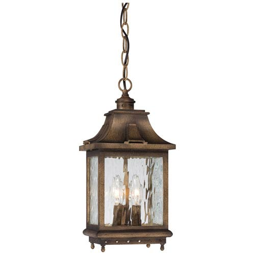 Minka-Lavery Wilshire Park Three-Light Outdoor Chain Hung in Portsmouth Bronze