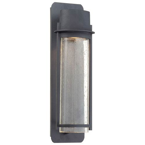Minka-Lavery Artisan Lane Black One-Light Outdoor Wall Mount with Clear Seeded Glass