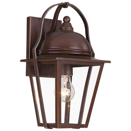 Rivendale Court Architectural Bronze with Copper Highlights One-Light Outdoor Wall Mount with Clear Glass