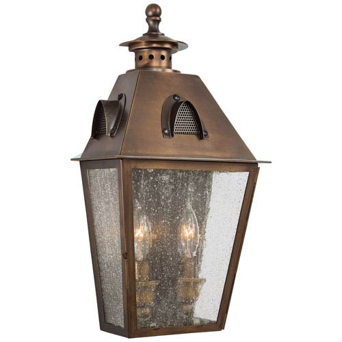 Edenshire Two-Light Outdoor Wall Mount in English Brass
