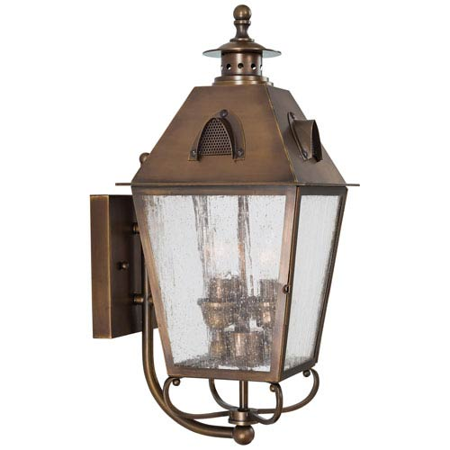 Edenshire Three-Light Outdoor Wall Mount in English Brass