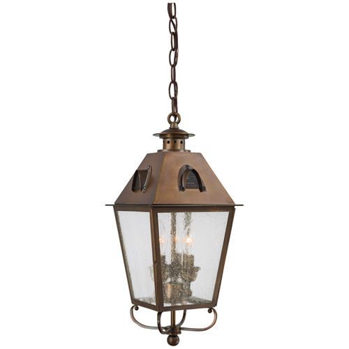 Edenshire Three-Light Outdoor Chain Hung in English Brass