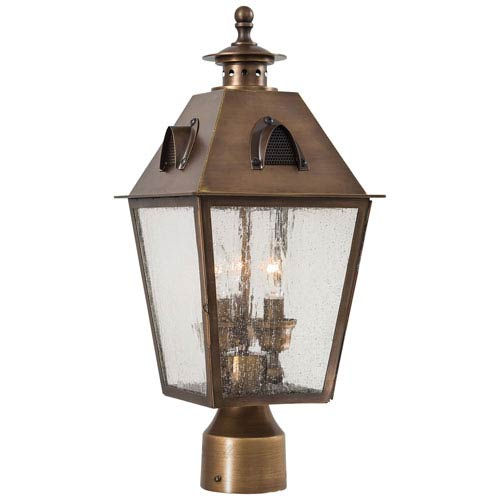 Minka-Lavery Edenshire Three-Light Outdoor Post Mount in English Brass